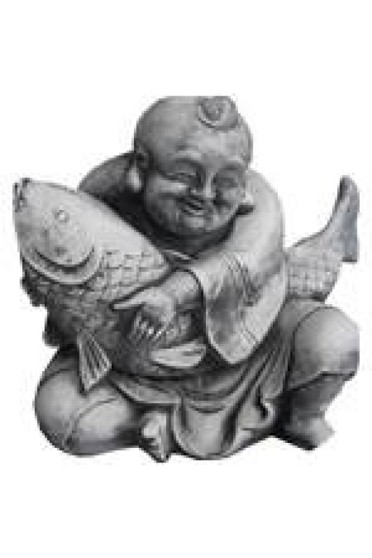 Socha veselého budhy s rybou